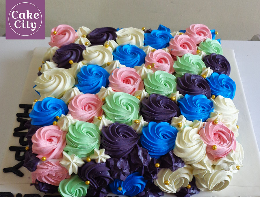 Multi Color Flowers Girls Birthday Cake Girl birthday cake ideas
