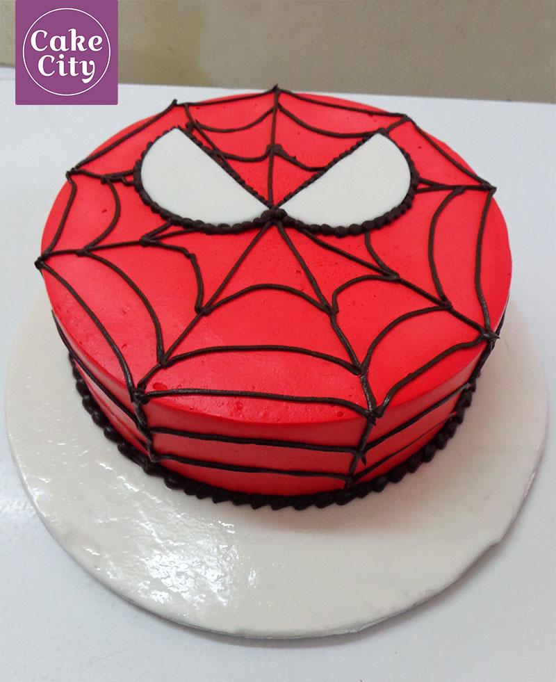 Spider Man Red Birthday Cake