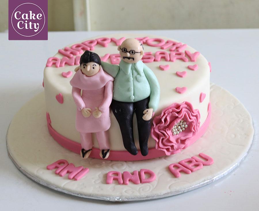 Parents Anniversary Cake Fondant cakes Wedding Anniversary cakes