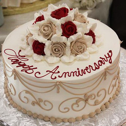 Red Yellow Flowers Anniversary Cake