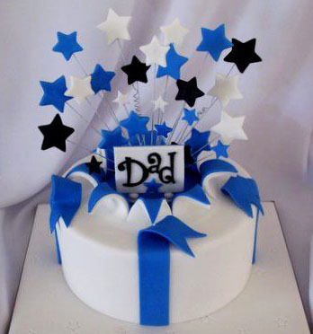 Blue Black Stars Dad Birthday Cake