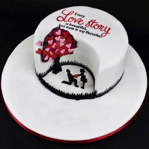 Hearts Tree Anniversary Cake Fondant Cakes Wedding