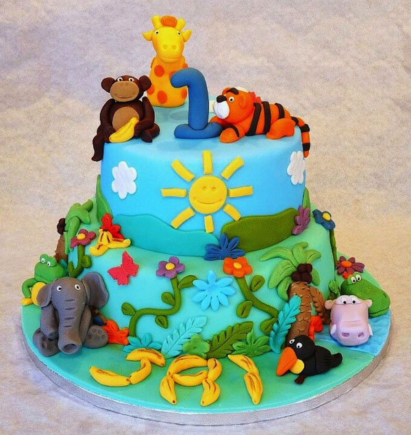 Animal Jungle Theme Birthday Cake