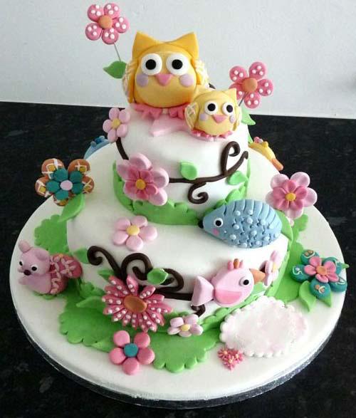 Animal Flowers Theme Birthday Cake