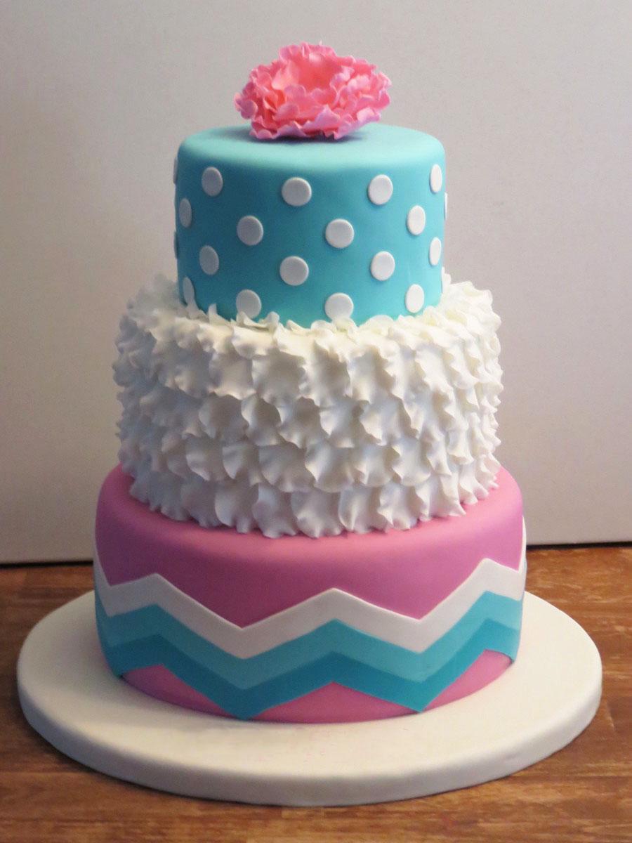 Aqua Blue Girls Birthday Cake