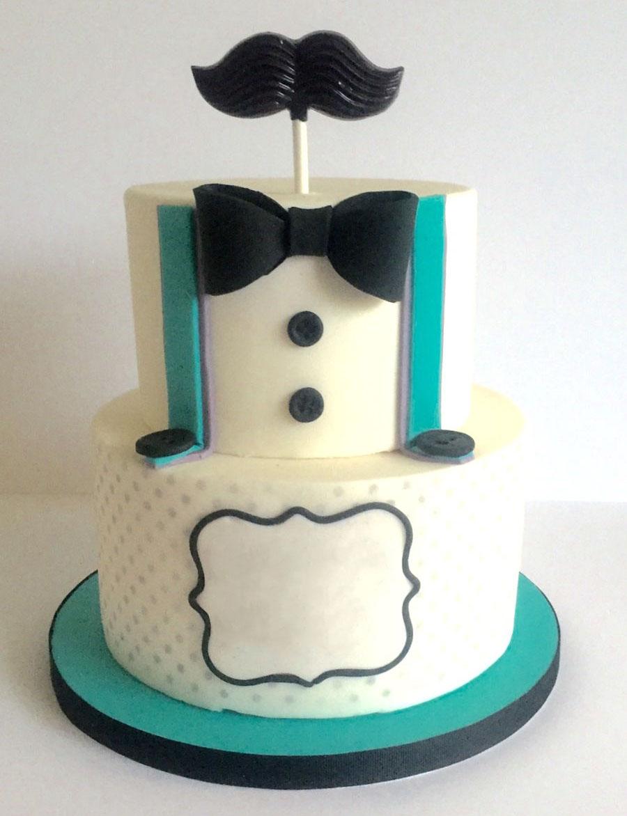 Black Mustache Dad Birthday Cake
