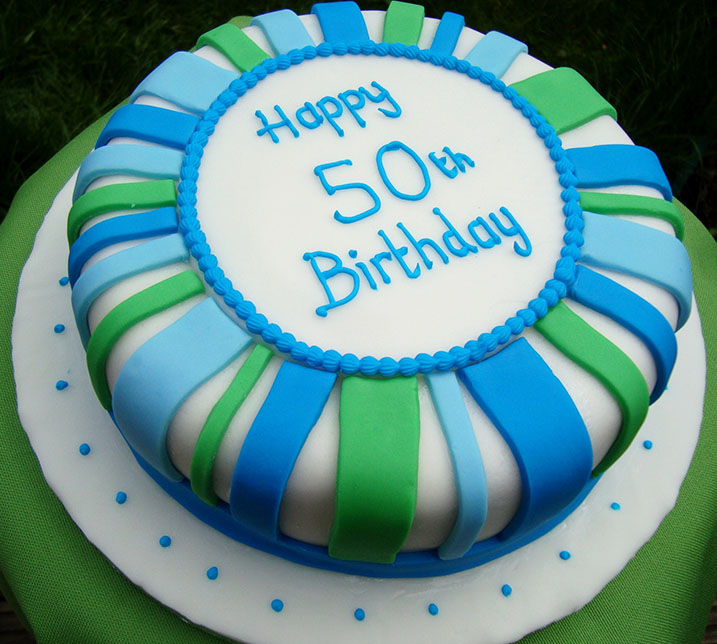 Blue Green Design Dad Birthday Cake