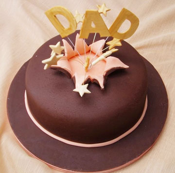 Golden Stars Dad Birthday Cake