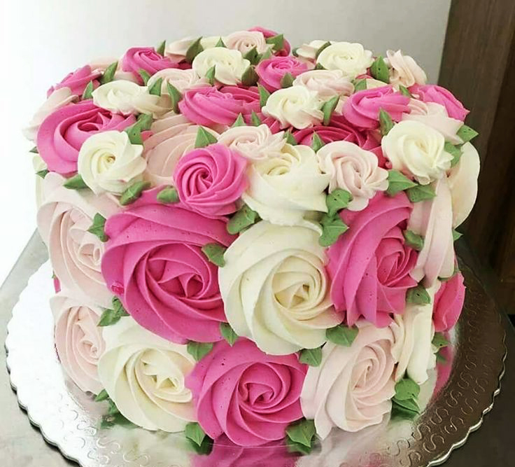 Pink White Flowers Birthday Cake
