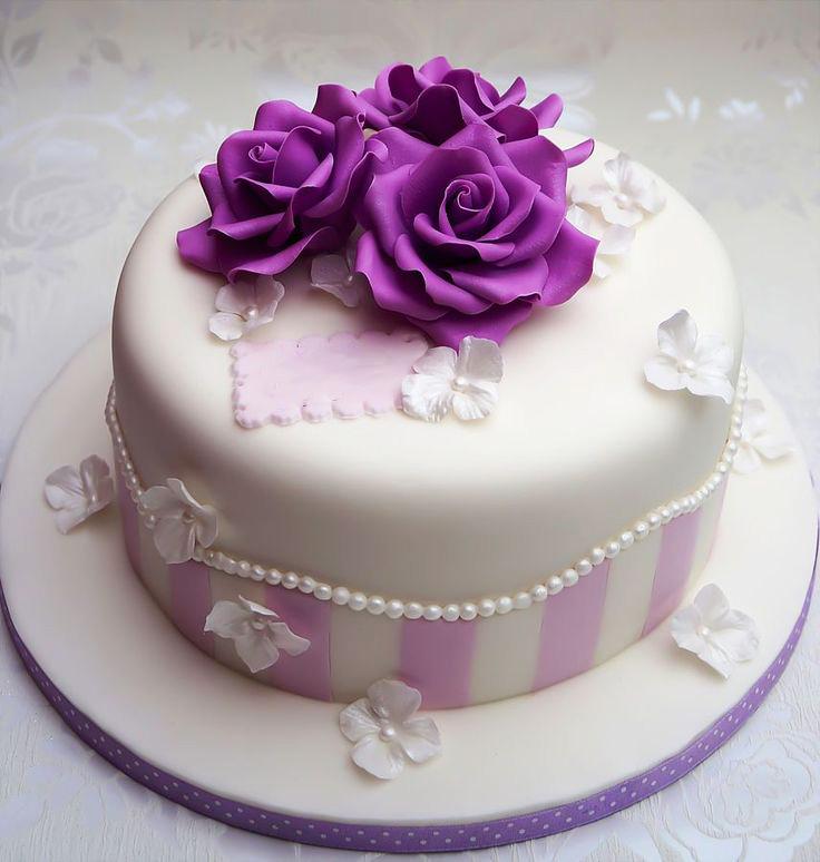 Purple Flowers Birthday Cake Fondant Cakes In Lahore