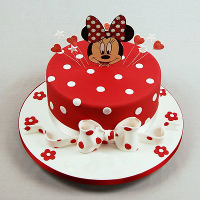 Red Minnie Mouse Kids Birthday Cake