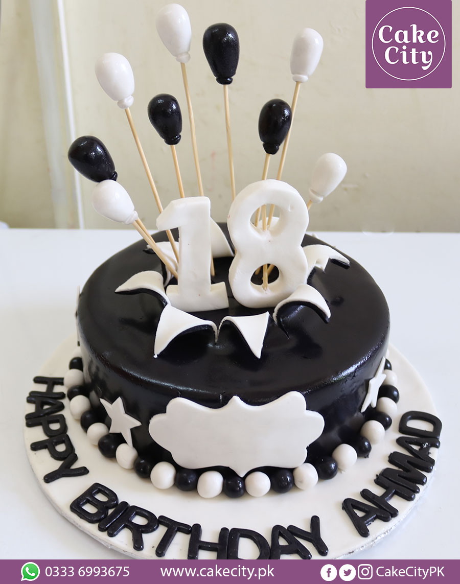 Black White Theme Birthday Cake